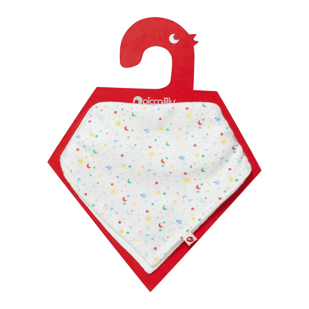 Bavaglino a Bandana in Mussola Reversibile Ditsy Star | PICCALILLY | RocketBaby.it