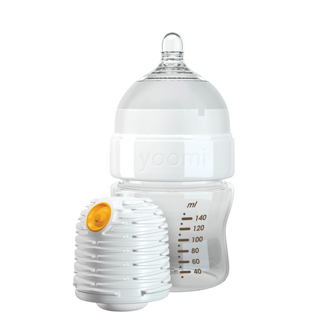 Set Biberon Autoriscaldante 140 ml, Tettarella Flusso Lento e Scaldino | YOOMI | RocketBaby.it