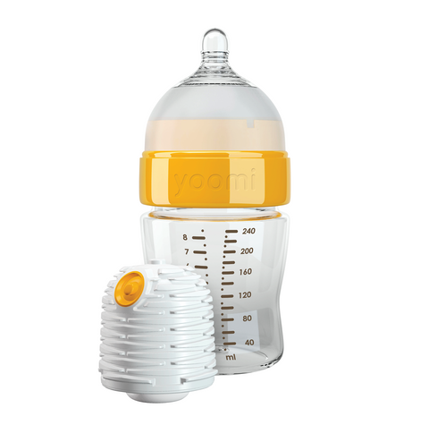 Set Biberon Autoriscaldante 240 ml, Tettarella Flusso Lento e Scaldino | YOOMI | RocketBaby.it