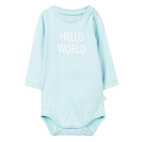 Body a Maniche Lunghe Hello World Canal Blue | NAME IT | RocketBaby.it