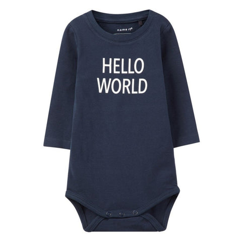 Body a Maniche Lunghe Hello World Dark Sapphire | NAME IT | RocketBaby.it