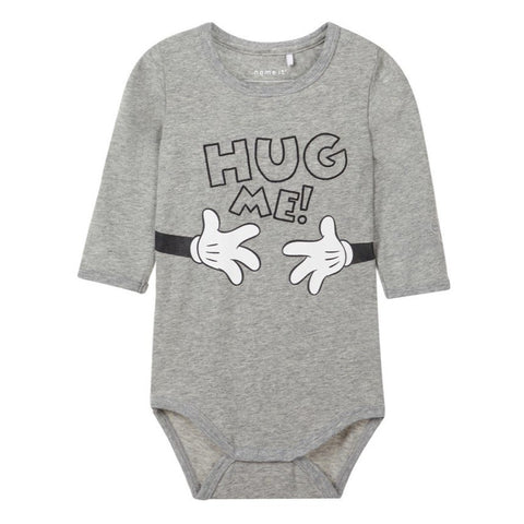Body a Maniche Lunghe Hug Me Grey Melange | NAME IT | RocketBaby.it