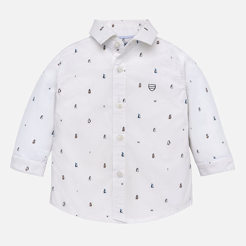 Camicia Stampata a Maniche Lunghe Bianco | MAYORAL | RocketBaby.it