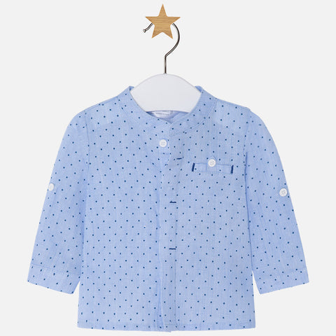 Camicia in Lino a Maniche Lunghe Azzurro | MAYORAL | RocketBaby.it