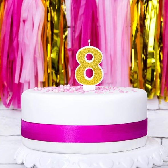 Candelina per Torta Numero 8 Gold | PARTY DECO | RocketBaby.it