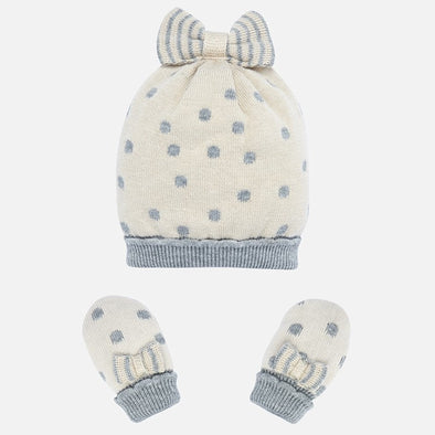 Set Completo Cappello e Manopole Pois Crema | MAYORAL | RocketBaby.it