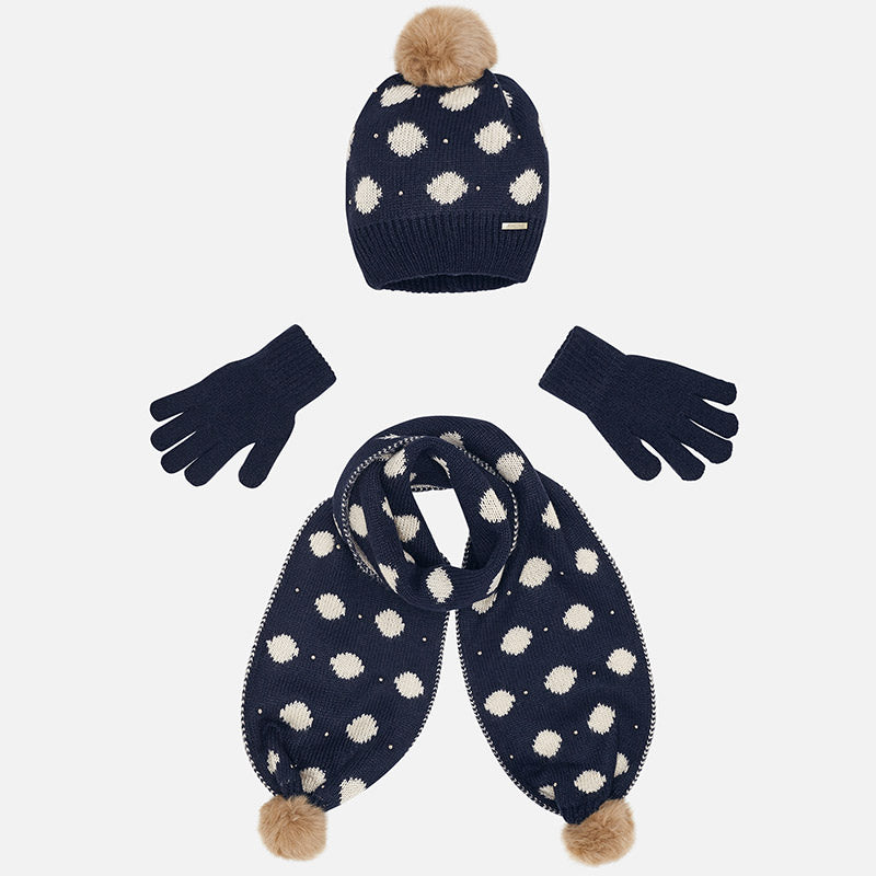 Set Completo Cappello Sciarpa e Guanti Pois Blu Navy | MAYORAL | RocketBaby.it