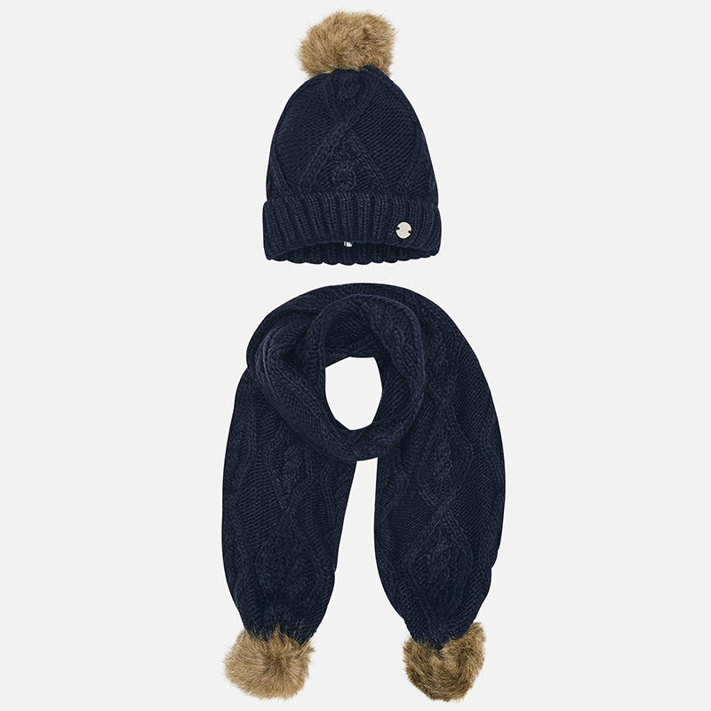 Set Completo Cappello e Sciarpa Ponpon Blu Navy | MAYORAL | RocketBaby.it