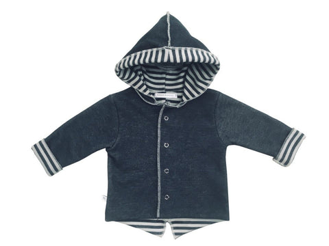 Cardigan Parker con Cappuccio Antracite Fango | BAMBOOM | RocketBaby.it