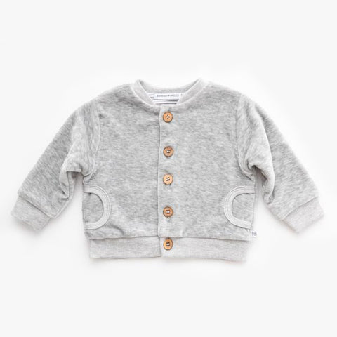 Cardigan In Velluto Grey Melange | BAMBOOM | RocketBaby.it