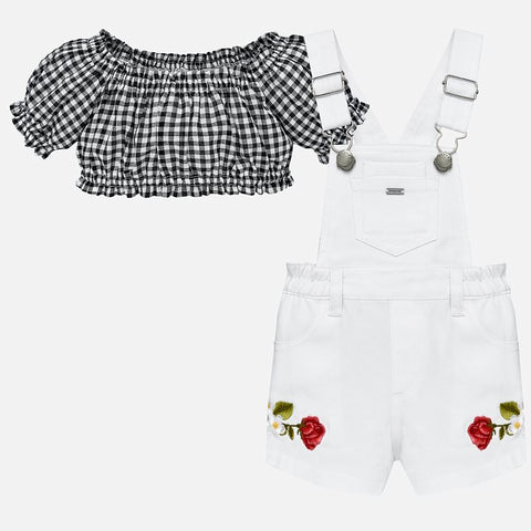 Set Completo Top a Maniche Corte e Salopette Ricami Bianco | MAYORAL | RocketBaby.it