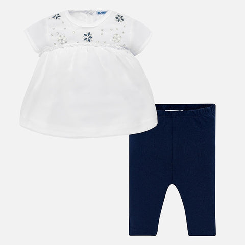 Set Completo Maglia Blusa a Maniche Corte e Leggings Strass Blu Navy | MAYORAL | RocketBaby.it