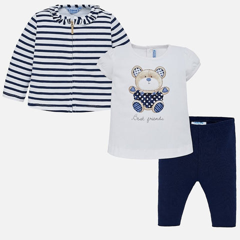 Set Completo Maglia a Maniche Corte Leggings e Felpa con Zip Teddy Blu Navy | MAYORAL | RocketBaby.it