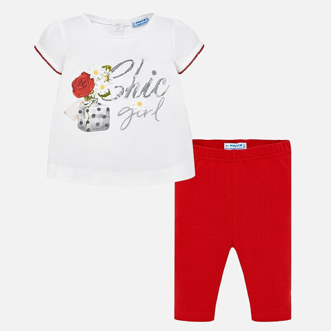 Set Completo Maglia a Maniche Corte e Leggings Chic Girl Rosso | MAYORAL | RocketBaby.it