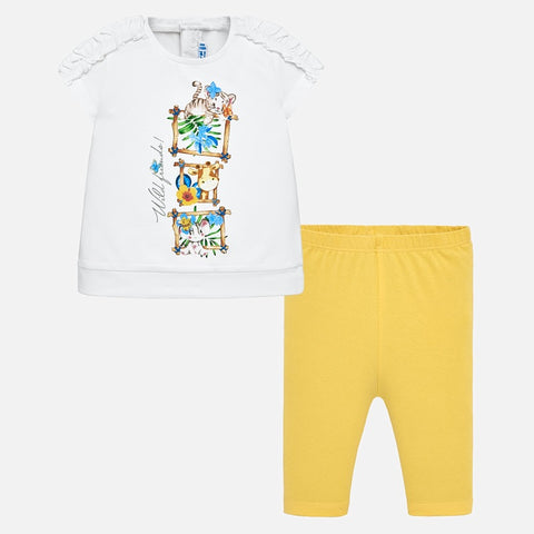 Set Completo Maglia a Maniche Corte e Leggings Animali Giallo | MAYORAL | RocketBaby.it