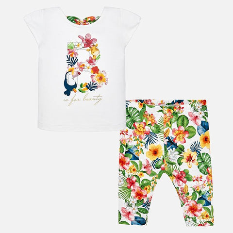 Set Completo Maglia a Maniche Corte e Leggings Tropical Geranio | MAYORAL | RocketBaby.it