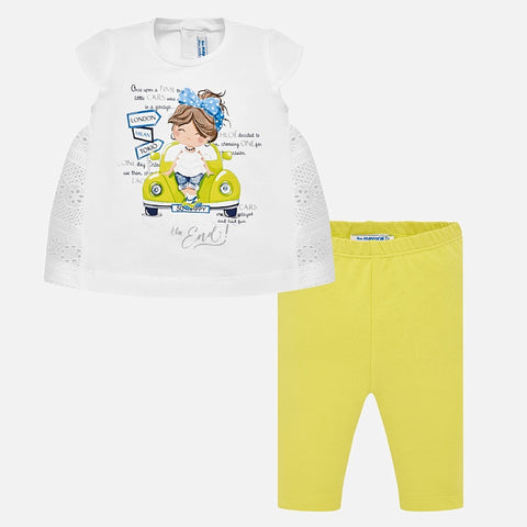 Set Completo Maglia a Maniche Corte e Leggings Car Giallo | MAYORAL | RocketBaby.it