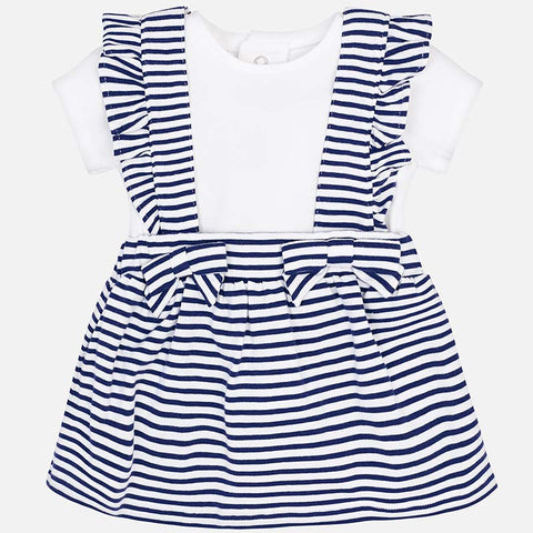 Set Completo Maglia a Maniche Corte e Gonna con Bretelle Righe Navy | MAYORAL | RocketBaby.it