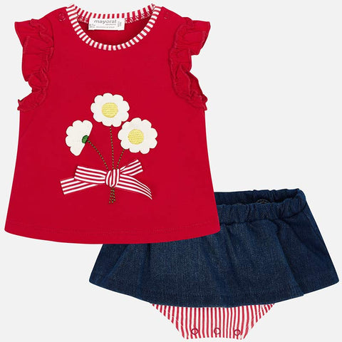Set Completo Maglia a Maniche Corte e Gonna Culotte Daisy Rosso | MAYORAL | RocketBaby.it