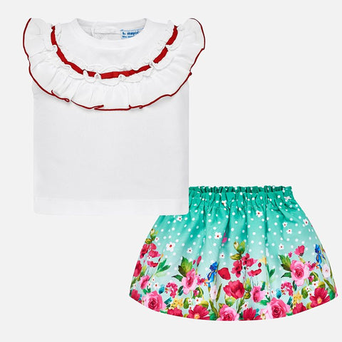 Set Completo Maglia Volant Rossi e Gonna Fiori Verde | MAYORAL | RocketBaby.it