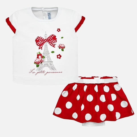 Set Completo Maglia a Maniche Corte e Gonna a Pois Rosso | MAYORAL | RocketBaby.it