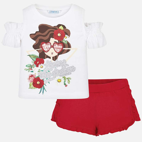 Set Completo Maglia Maniche Off Shoulders e Pantaloni Corti Bambola Rosso | MAYORAL | RocketBaby.it