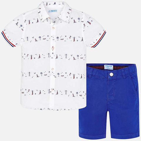 Set Completo Camicia a Maniche Corte e Pantaloni Corti Molo Royal Blue | MAYORAL | RocketBaby.it