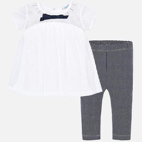 Set Completo Maglia Blusa a Maniche Corte e Leggings Vichy Blu Navy | MAYORAL | RocketBaby.it