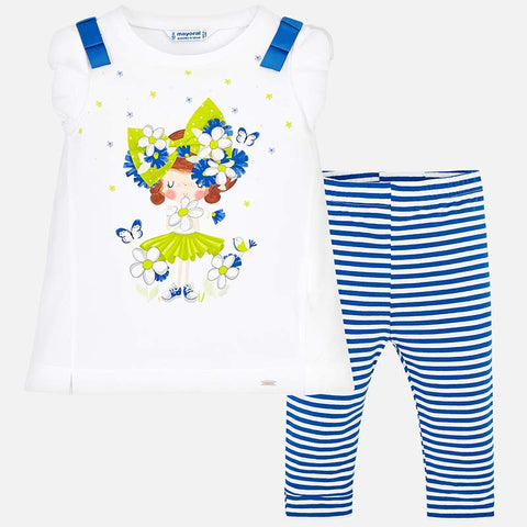 Set Completo Maglia a Maniche Corte e Leggings a Righe Blu Intenso | MAYORAL | RocketBaby.it