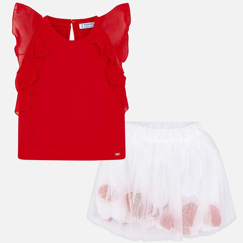 Set Completo Maglia a Maniche Corte e Gonna Tulle Petali Rosso | MAYORAL | RocketBaby.it