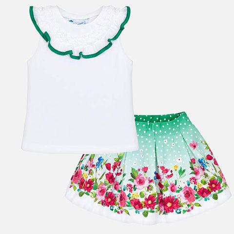 Set Completo Maglia Volant e Gonna Fiori Verde | MAYORAL | RocketBaby.it
