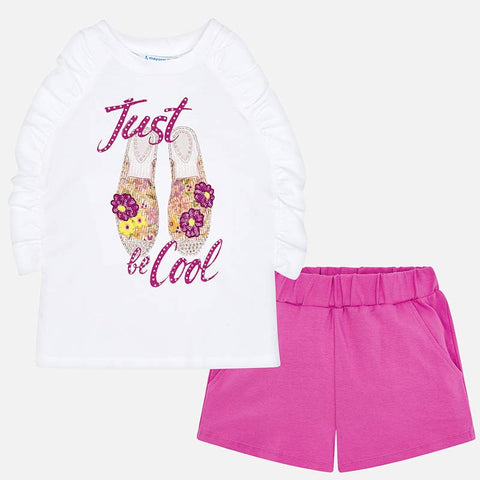 Set Completo Maglia Senza Maniche e Pantaloni Corti Be Cool Orchidea | MAYORAL | RocketBaby.it