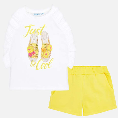 Set Completo Maglia Senza Maniche e Pantaloni Corti Be Cool Giallo | MAYORAL | RocketBaby.it