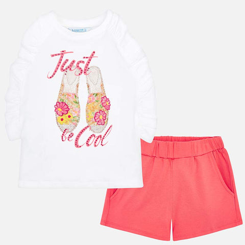 Set Completo Maglia Senza Maniche e Pantaloni Corti Be Cool Corallo | MAYORAL | RocketBaby.it