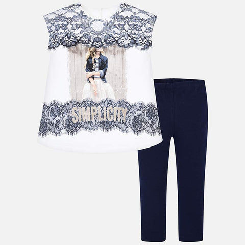 Set Completo Maglia a Maniche Corte e Leggings Merletto Blu Navy | MAYORAL | RocketBaby.it