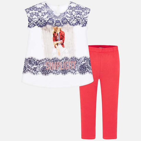 Set Completo Maglia a Maniche Corte e Leggings Merletto Kaki | MAYORAL | RocketBaby.it
