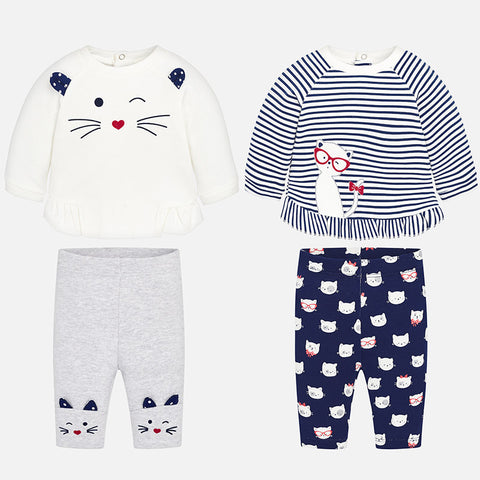 Set Completo 2 Maglie a Maniche Lunghe e 2 Pantaloni Gatto Navy | MAYORAL | RocketBaby.it