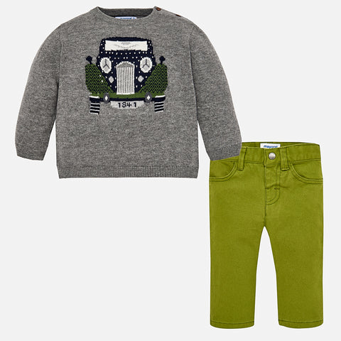 Set Completo Maglione Automobile Cenere e Verde | MAYORAL | RocketBaby.it