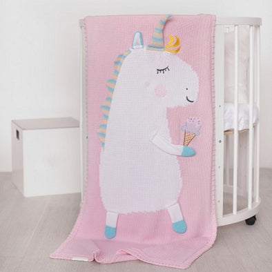 Coperta in Cotone 60 x 120 cm Unicorn Pink | APERO | RocketBaby.it