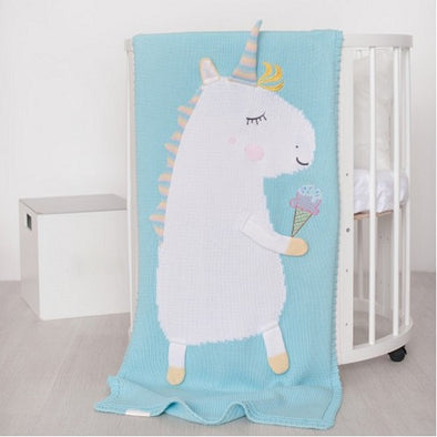 Coperta in Cotone 60 x 120 cm Unicorn Mint | APERO | RocketBaby.it