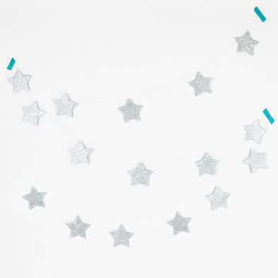 Ghirlanda Decorativa Glitter Silver Stars | MY LITTLE DAY | RocketBaby.it