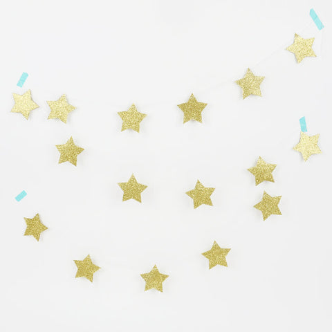 Ghirlanda Decorativa Glitter Golden Stars | MY LITTLE DAY | RocketBaby.it