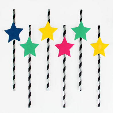 12 Cannucce di Carta Disco Stars | MY LITTLE DAY | RocketBaby.it