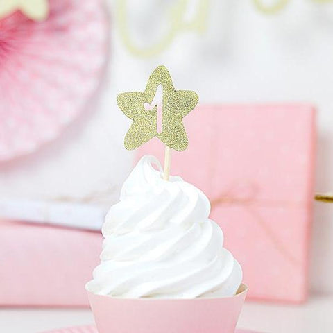 Set 6 Decorazioni per Dolci First Birthday Gold | PARTY DECO | RocketBaby.it