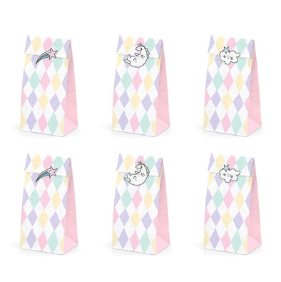 Set 6 Sacchetti di Carta con Adesivi Unicorn | PARTY DECO | RocketBaby.it