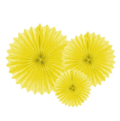 Set 3 Decorazioni a Ventaglio Yellow | PARTY DECO | RocketBaby.it