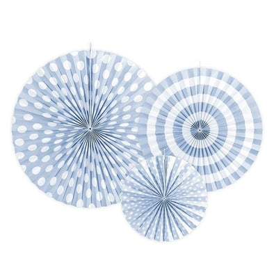 Set 3 Decorazioni a Ventaglio Light Cornflower Blue | PARTY DECO | RocketBaby.it