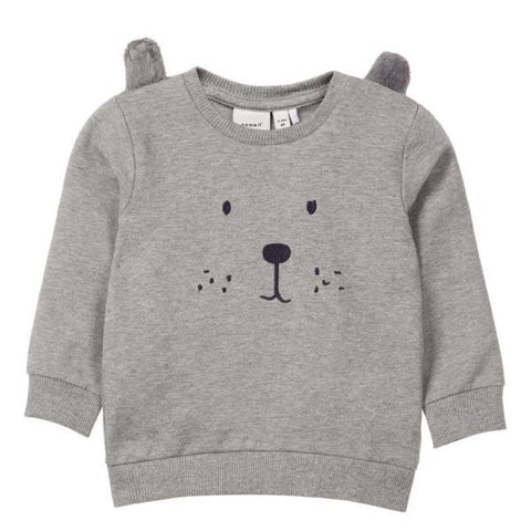 Felpa a Maniche Lunghe Bear Grey Melange | NAME IT | RocketBaby.it