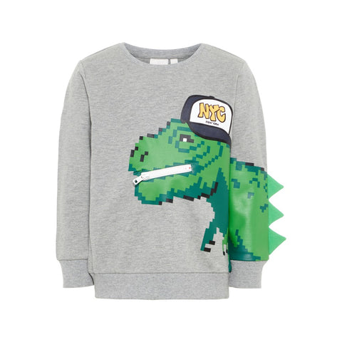 Felpa a Maniche Lunghe Rex Grey Melange | NAME IT | RocketBaby.it
