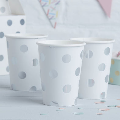 8 Bicchieri di Carta Polka Dot Silver | GINGER RAY | RocketBaby.it